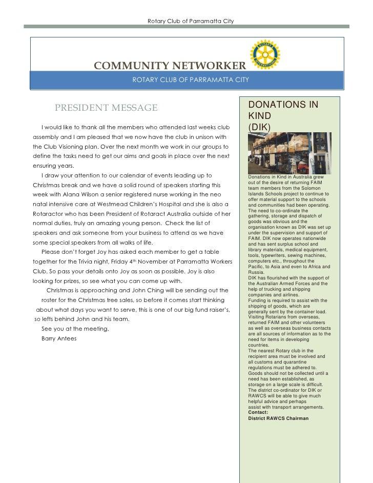 Rotary Club of Parramatta City                      COMMUNITY NETWORKER                                     ROTARY CLUB OF...