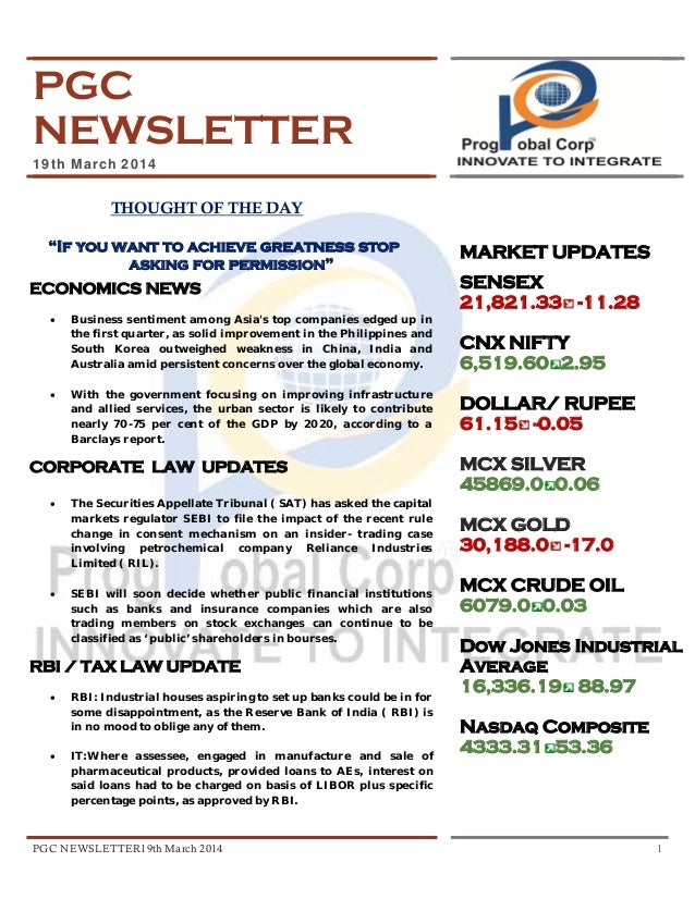 PGC NEWSLETTER 19th March 2014