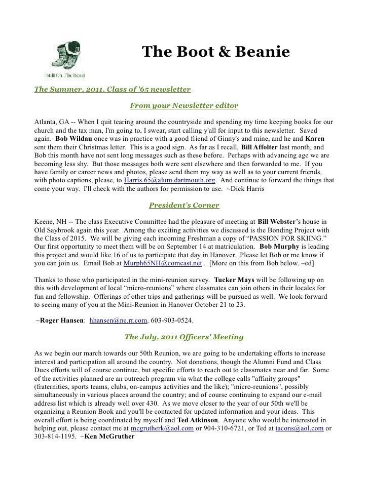 The Boot & BeanieThe Summer, 2011, Class of 65 newsletter                                 From your Newsletter editorAtlan...