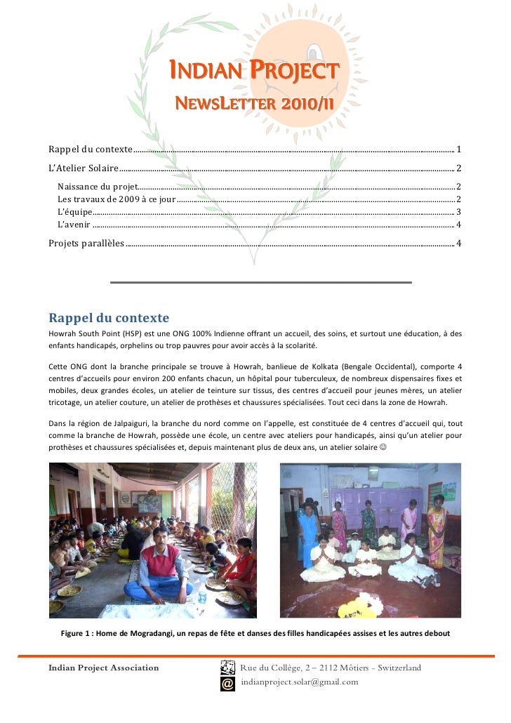 INDIAN PROJECT                                                         NEWSLETTER 2010/11                                 ...