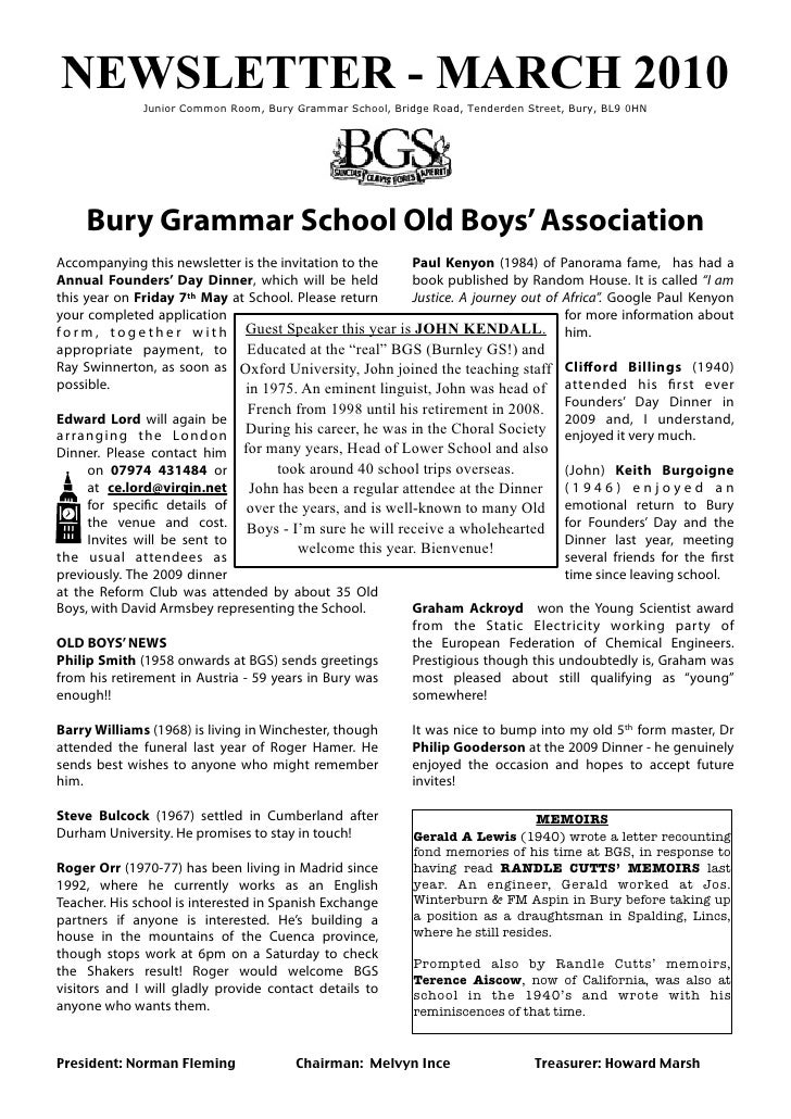 BGSOB Newsletter 2010