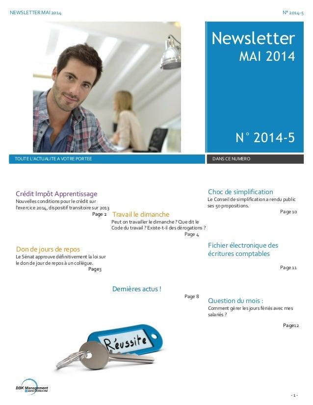 NEWSLETTER MAI 2014 N° 2014-5 - 1 - Newsletter MAI 2014 N° 2014-5 TOUTE L'ACTUALITE A VOTRE PORTEE DANS CE NUMERO Crédit I...