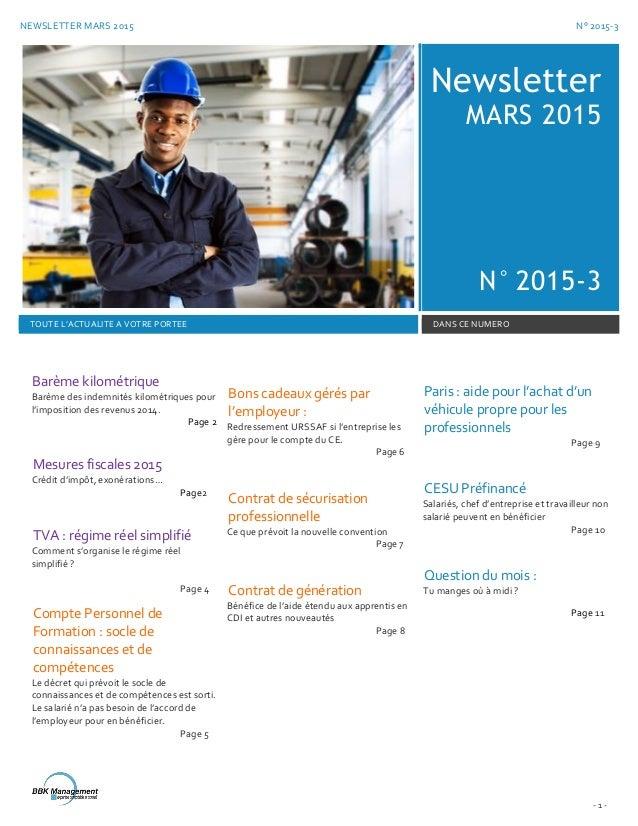NEWSLETTER MARS 2015 N° 2015-3 - 1 - Newsletter MARS 2015 N° 2015-3 TOUTE L'ACTUALITE A VOTRE PORTEE DANS CE NUMERO Barème...