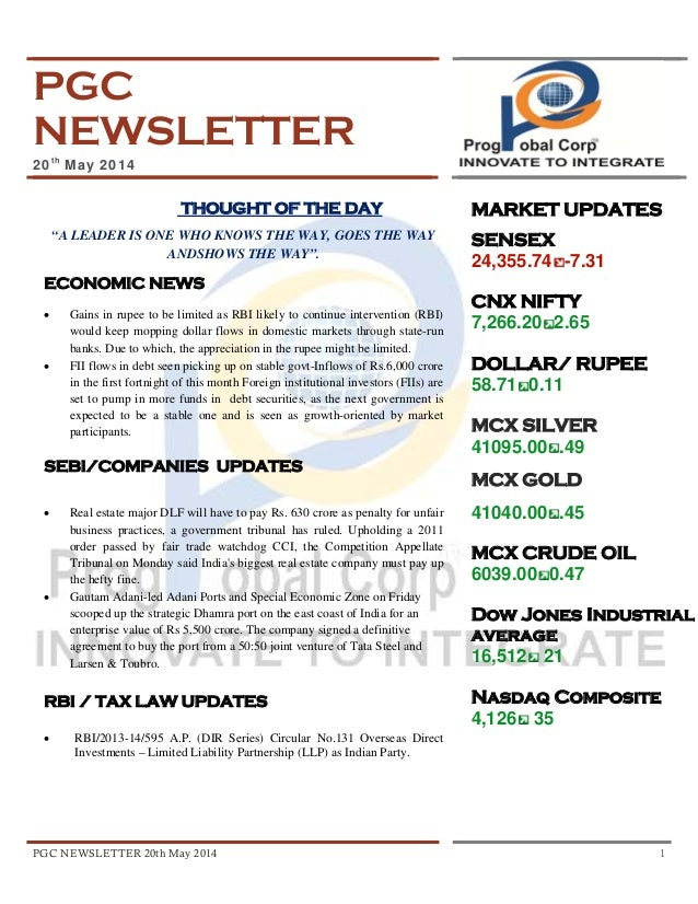 """PGC NEWSLETTER 20th May 2014 1 PGC NEWSLETTER 20th May 2014 THOUGHT OF THE DAY """"A LEADER IS ONE WHO KNOWS THE WAY, GOES TH..."""