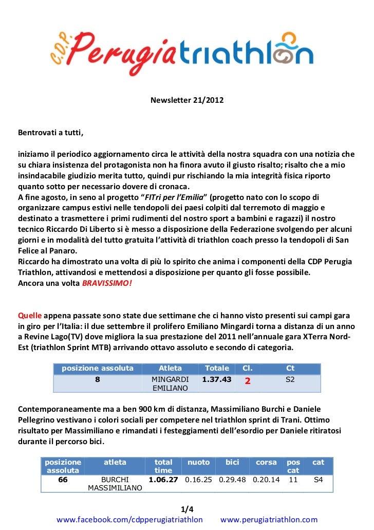 Newsletter 21 - 2012 CDP Perugia Triathlon
