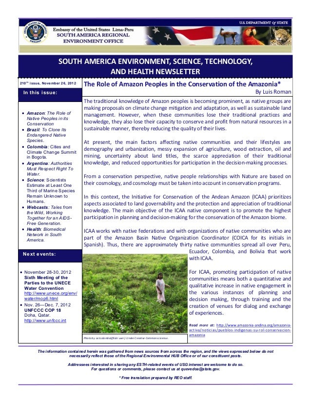 SOUTH AMERICA ENVIRONMENT, SCIENCE, TECHNOLOGY,                                  AND HEALTH NEWSLETTER210 t h issue, Novem...
