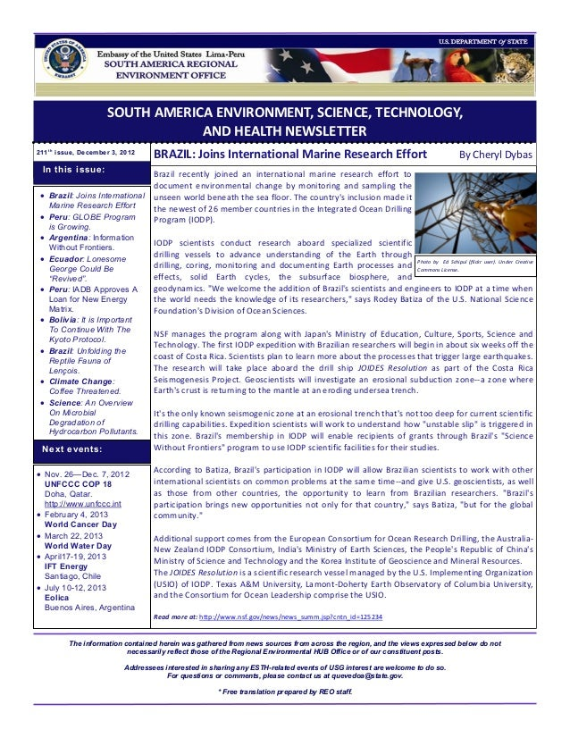 SOUTH AMERICA ENVIRONMENT, SCIENCE, TECHNOLOGY,                                  AND HEALTH NEWSLETTER211 t h issue, Decem...