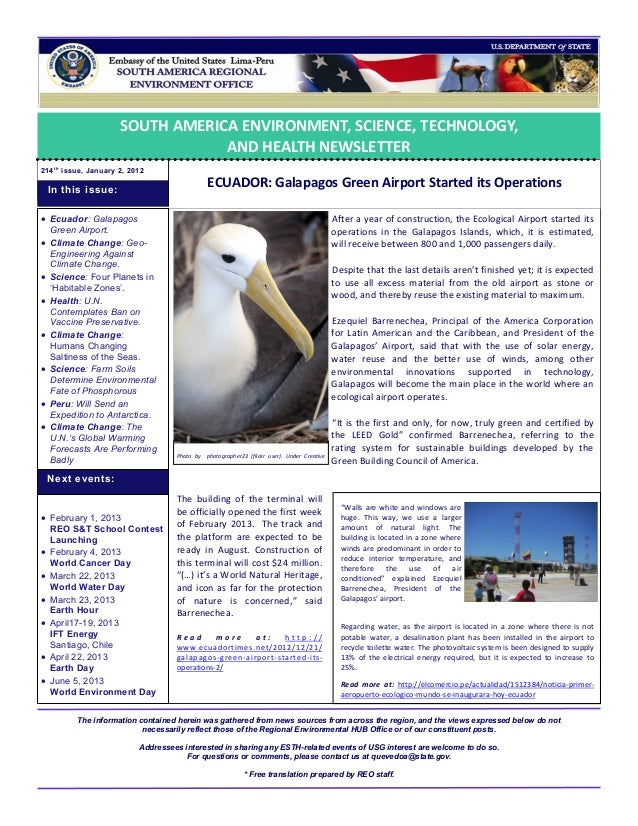 SOUTH AMERICA ENVIRONMENT, SCIENCE, TECHNOLOGY,                                   AND HEALTH NEWSLETTER214 t h issue, Janu...