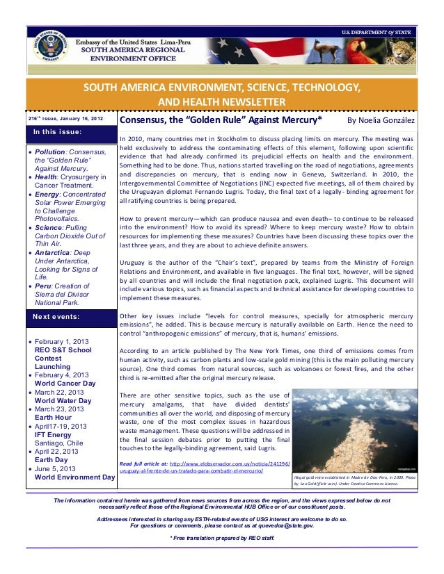 SOUTH AMERICA ENVIRONMENT, SCIENCE, TECHNOLOGY,                                  AND HEALTH NEWSLETTER216 t h issue, Janua...