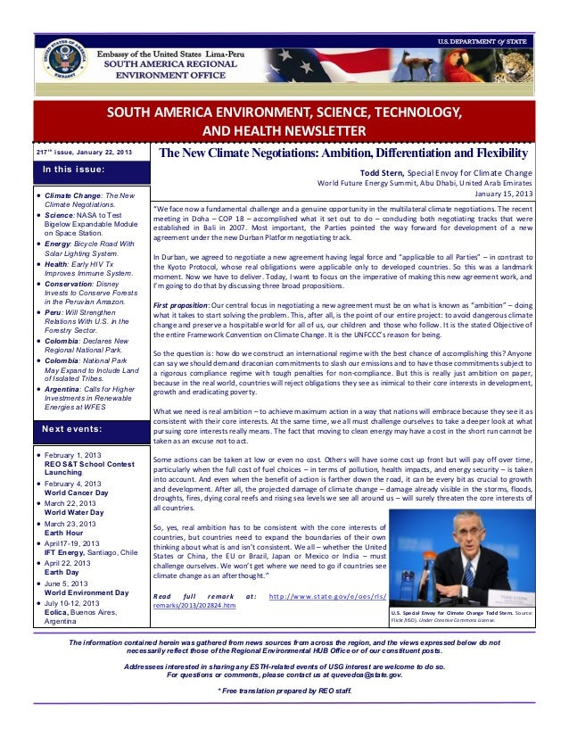 SOUTH AMERICA ENVIRONMENT, SCIENCE, TECHNOLOGY,                                  AND HEALTH NEWSLETTER217 t h issue, Janua...