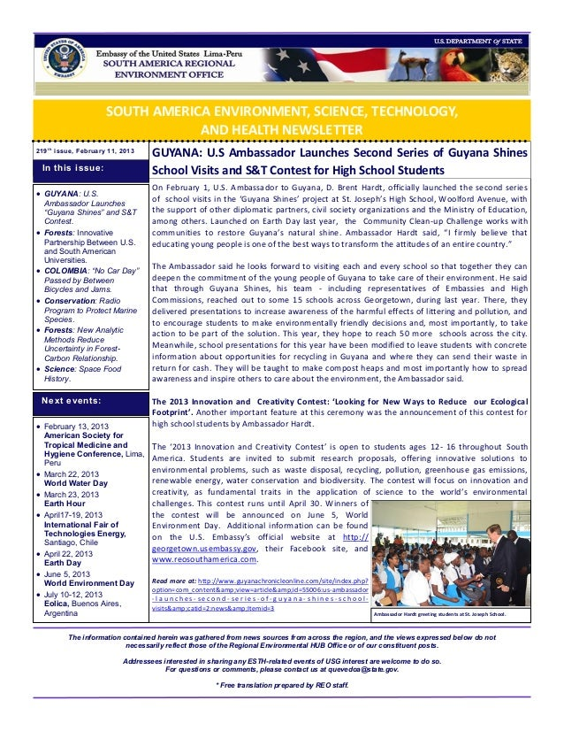 SOUTH AMERICA ENVIRONMENT, SCIENCE, TECHNOLOGY,                                  AND HEALTH NEWSLETTER219 t h issue, Febru...