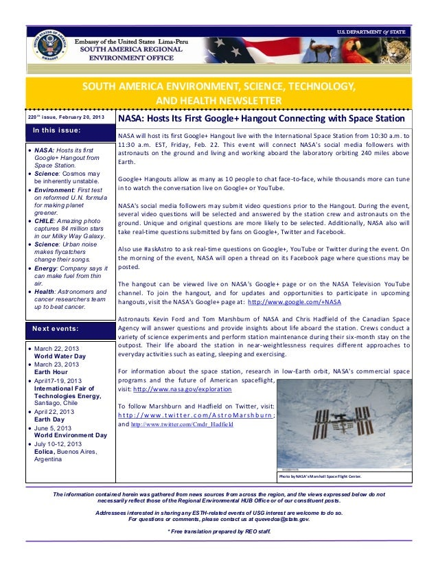 SOUTH AMERICA ENVIRONMENT, SCIENCE, TECHNOLOGY,                                  AND HEALTH NEWSLETTER220 t h issue, Febru...
