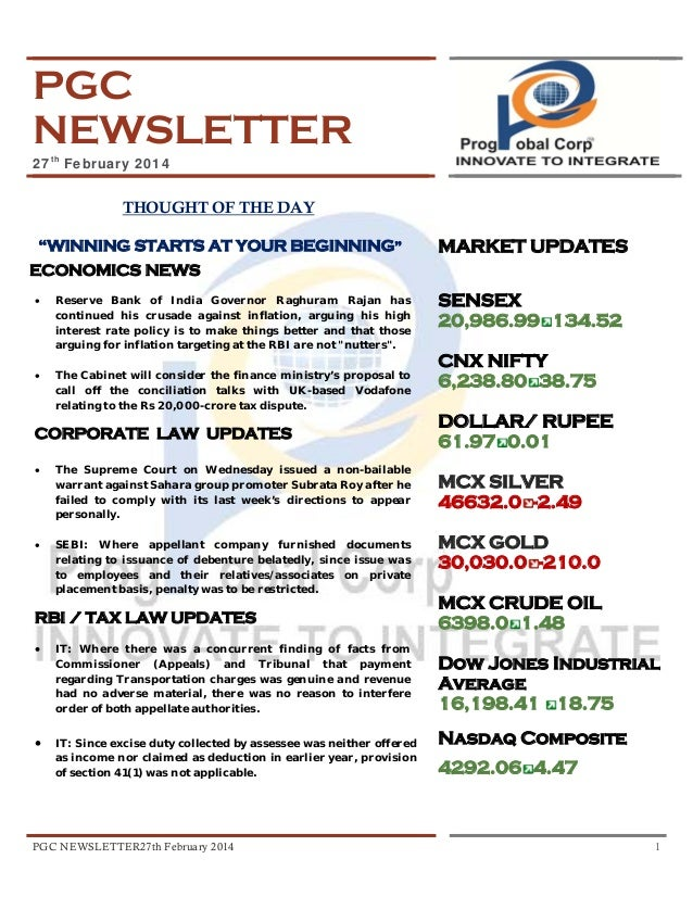 """PGC NEWSLETTER 27th February 2014  THOUGHT OF THE DAY """"WINNING STARTS AT YOUR BEGINNING""""  MARKET UPDATES  ECONOMICS NEWS •..."""