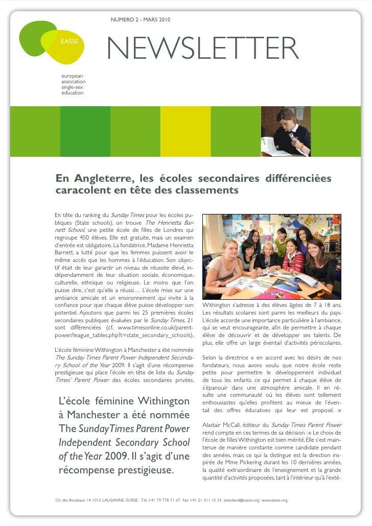 NUMERO 2 - MARS 2010  EASSE                          NEWSLETTER   european   association   single-sex   educationEn Anglet...