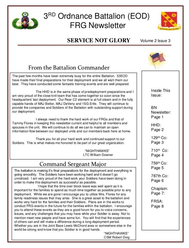 Volume 2 Issue 3<br />From the Battalion Commander<br />Inside This Issue:<br />BN Newsletter: Page 1<br />HHD:         Pa...