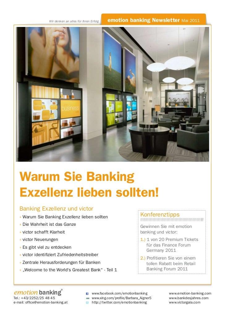 Wir denken an alles für Ihren Erfolg    emotion banking Newsletter Mai 2011   Warum Sie Banking   Exzellenz lieben sollten...