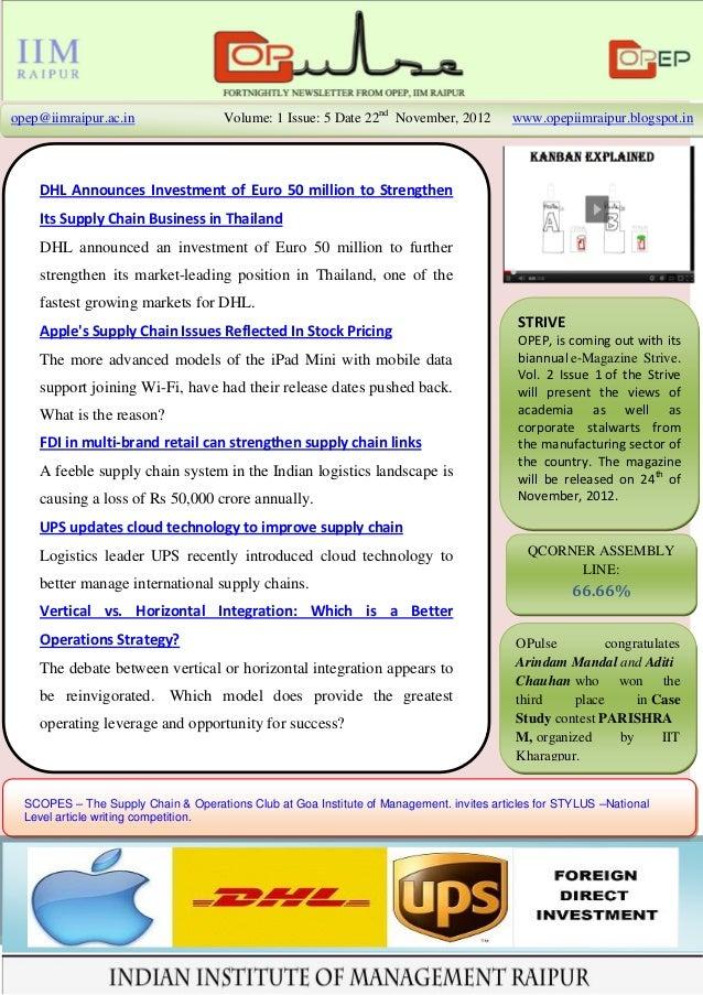 opep@iimraipur.ac.in                  Volume: 1 Issue: 5 Date 22nd November, 2012         www.opepiimraipur.blogspot.in   ...