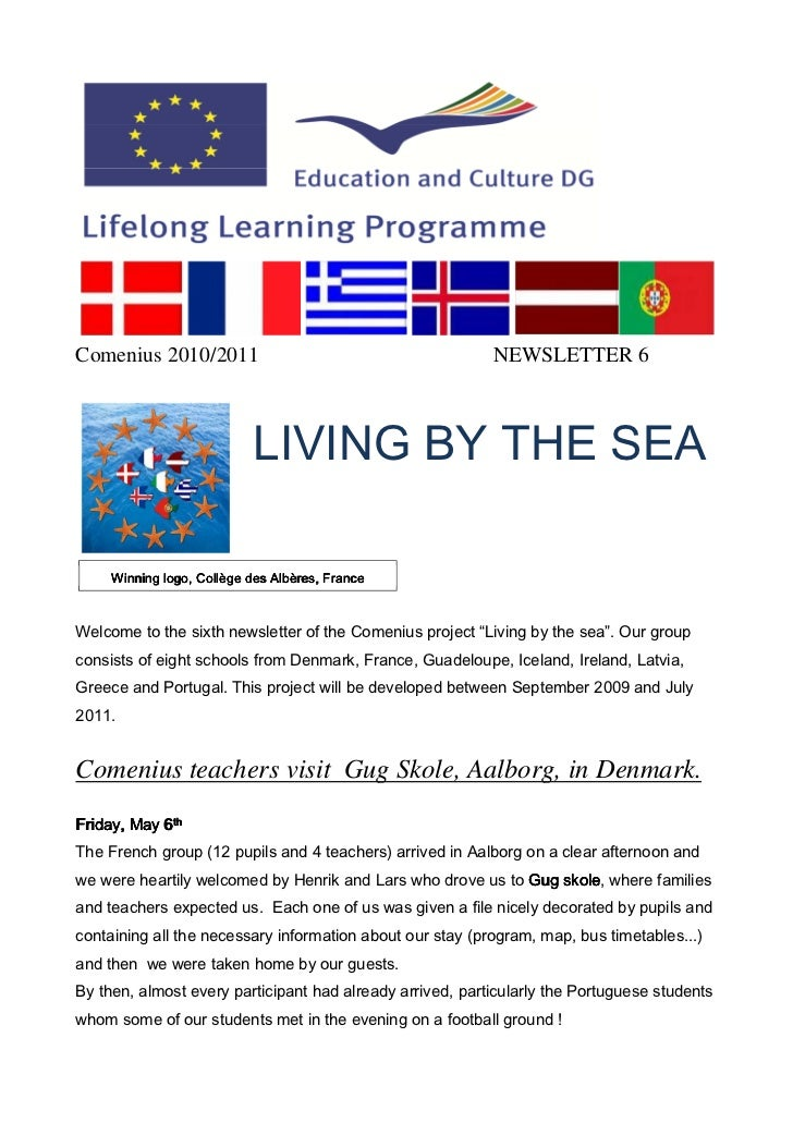 Comenius 2010/2011                                         NEWSLETTER 6                           LIVING BY THE SEA     Wi...