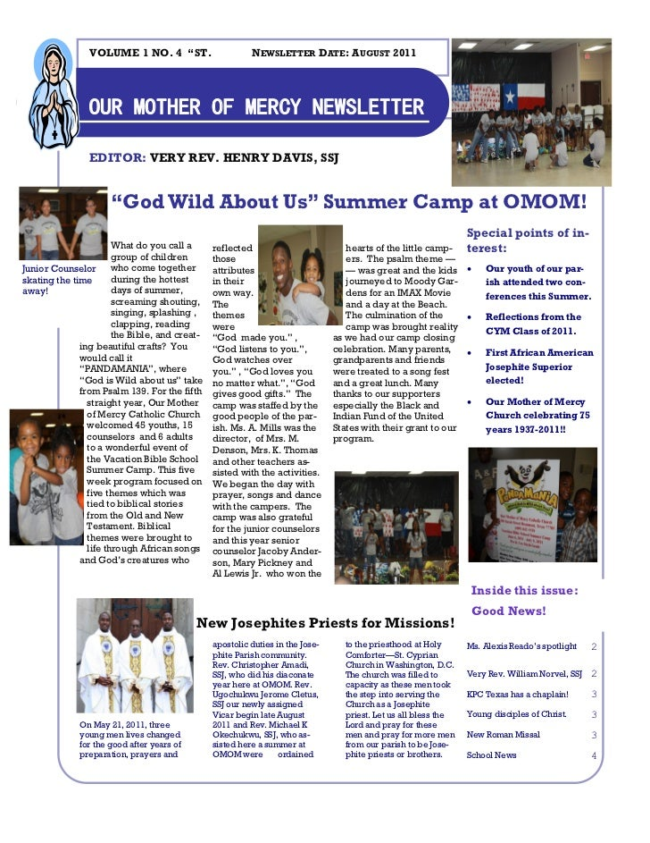 "VOLUME 1 NO. 4 ""ST.                      NEWSLETTER DATE: AUGUST 2011                OUR MOTHER OF MERCY NEWSLETTER       ..."