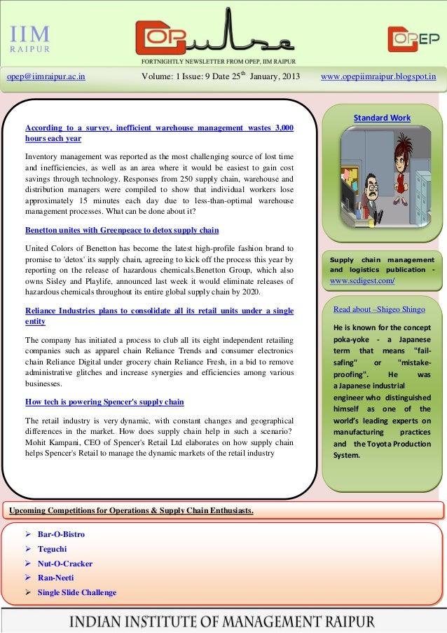 opep@iimraipur.ac.in                   Volume: 1 Issue: 9 Date 25th January, 2013        www.opepiimraipur.blogspot.in    ...