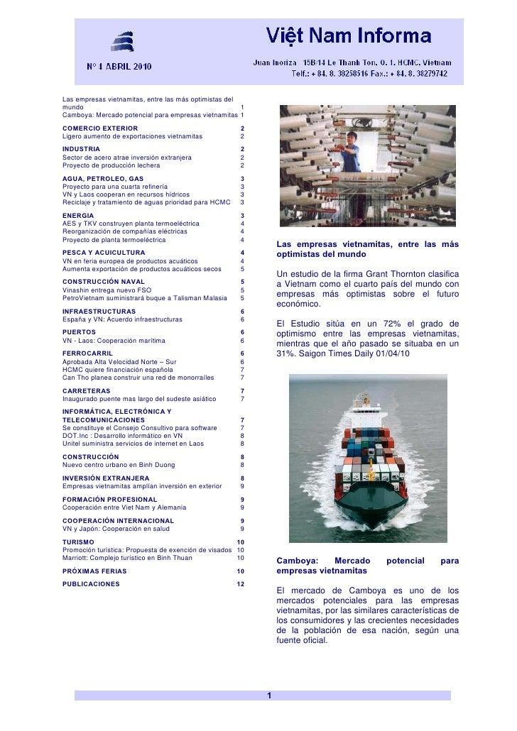 Vietnam Boletín Informativo Abril 2010