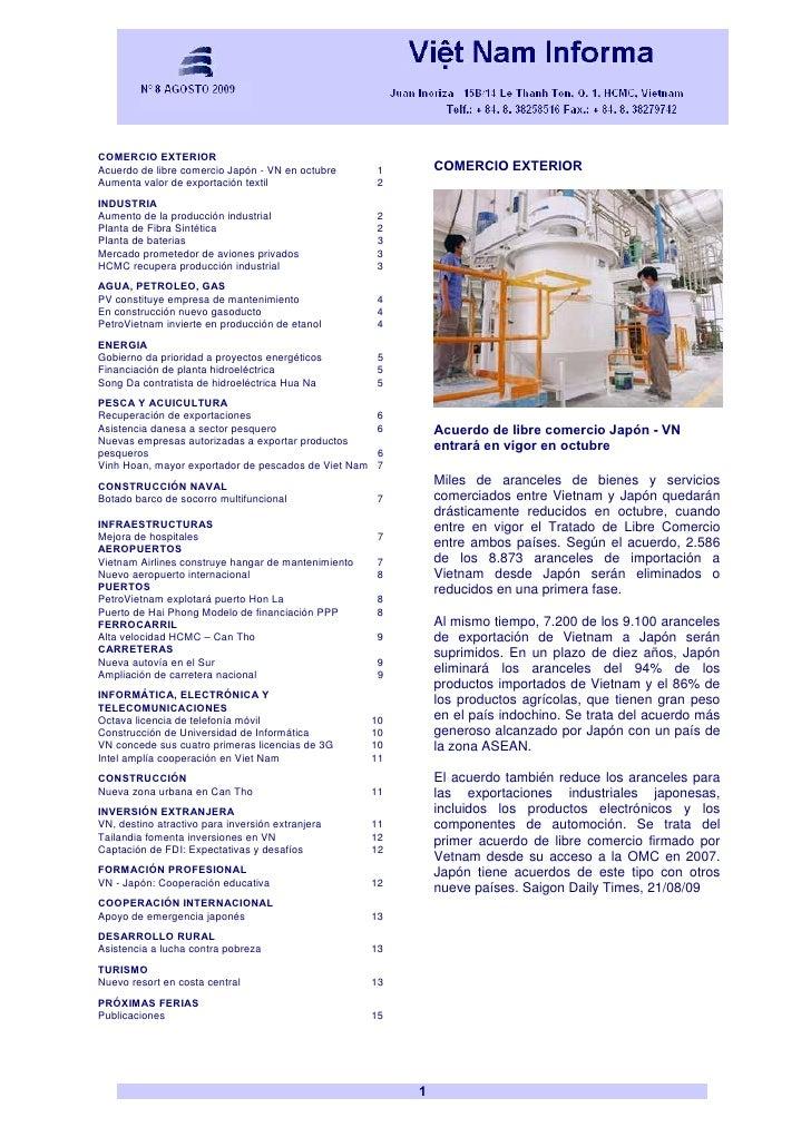 Vietnam Boletín Informativo AGOSTO 2009