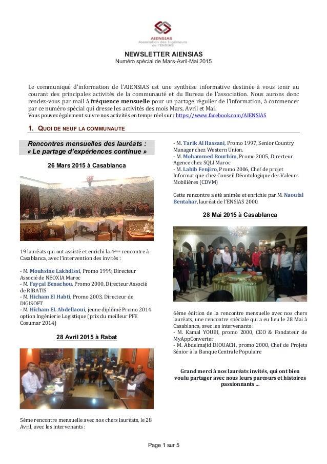 Page 1 sur 5 NEWSLETTER AIENSIAS Numéro spécial de Mars-Avril-Mai 2015 Le   communiqué   d'information   de   l'AI...