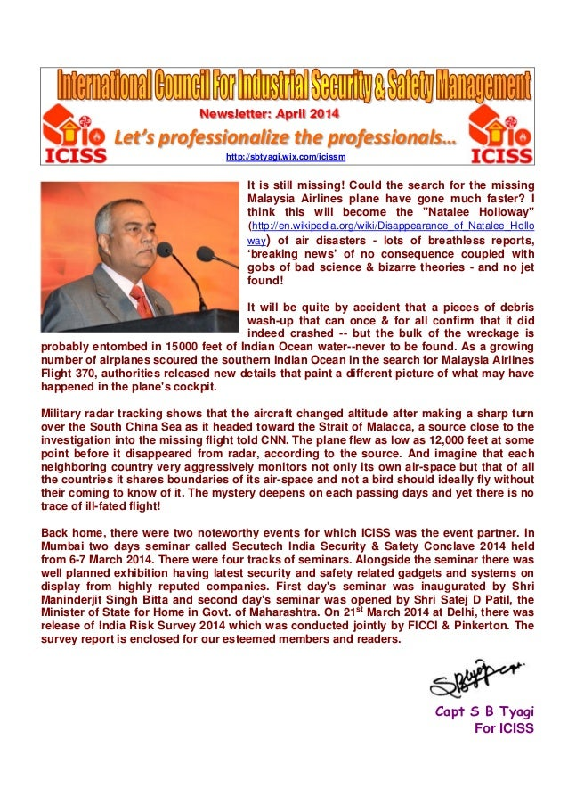 Newsletter: April 2014 Let's professionalize the professionals… http://sbtyagi.wix.com/icissm It is still missing! Could t...