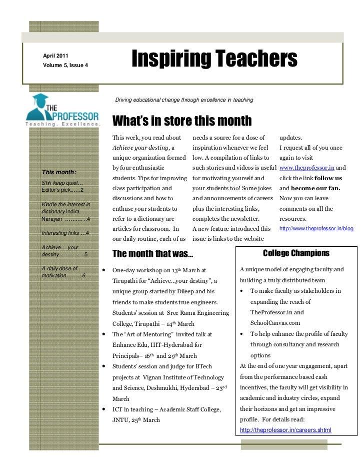 April 2011Volume 5, Issue 4                    Inspiring Teachers                             Driving educational change t...