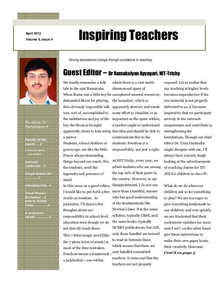 April 2012Volume 6, Issue 4                   Inspiring Teachers                           Driving educational change thro...