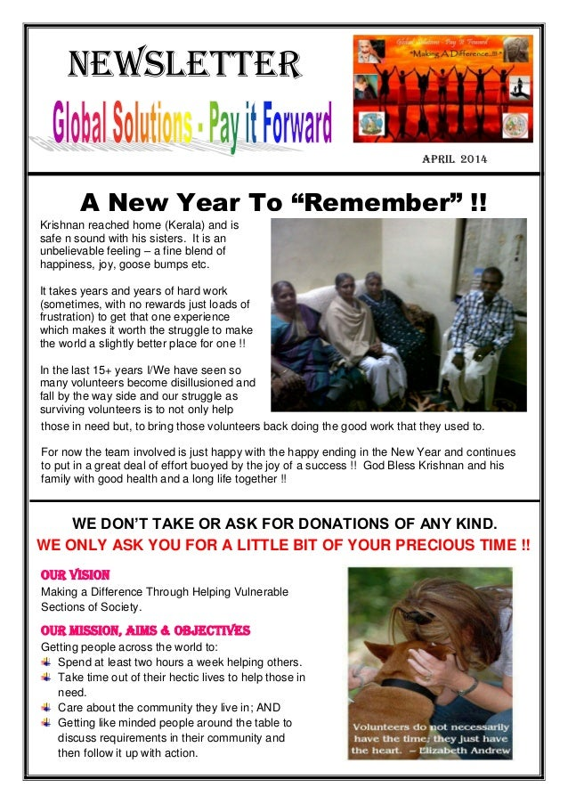 """Newsletter April 2014 A New Year To """"Remember"""" !! Krishnan reached home (Kerala) and is safe n sound with his sisters. It ..."""