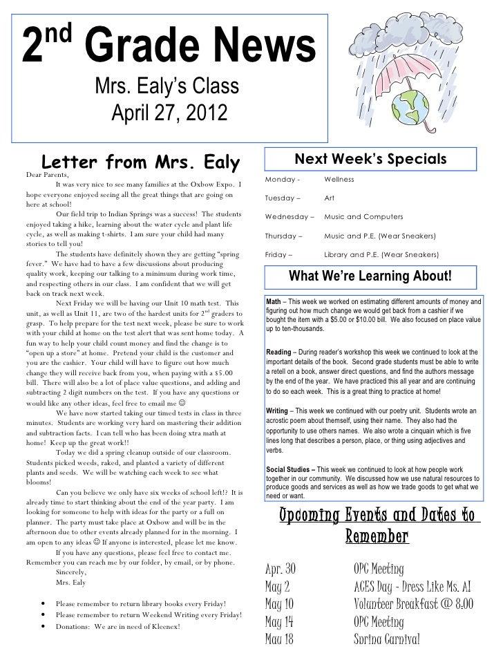 Newsletter april 27, 2012