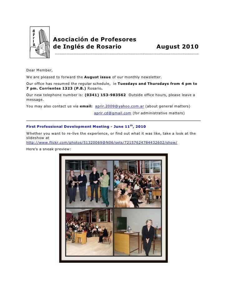 Asociación de Profesores                de Inglés de Rosario                                   August 2010                ...