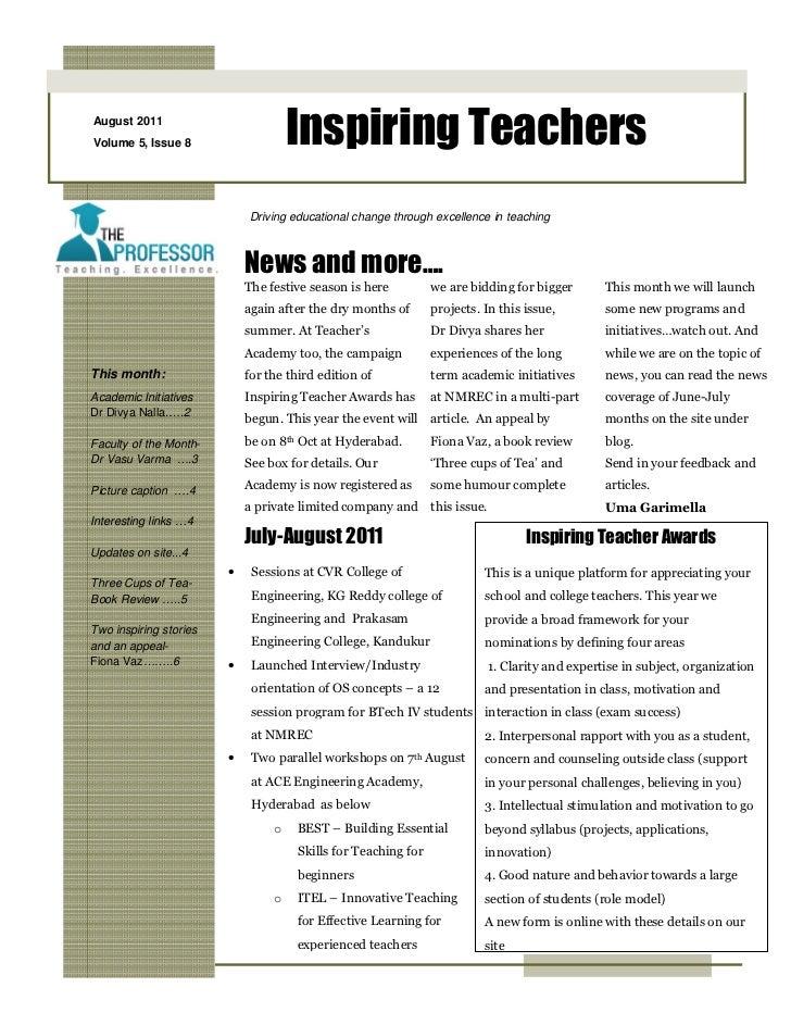 August 2011Volume 5, Issue 8                    Inspiring Teachers                            Driving educational change t...