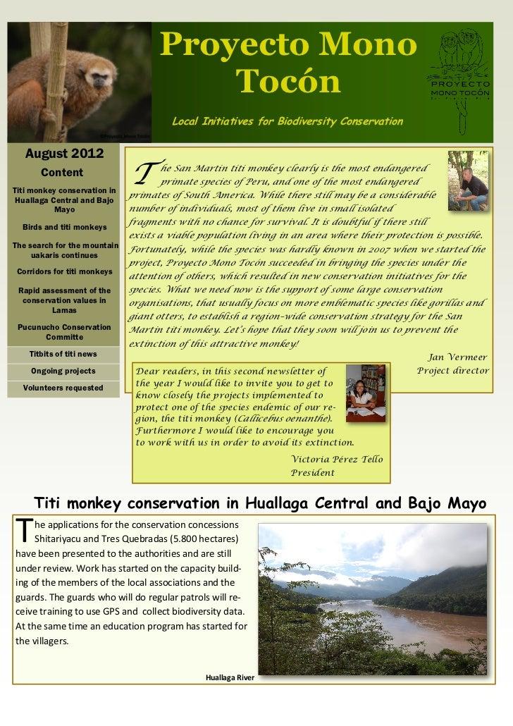 Proyecto Mono                                        Tocón                                       Local Initiatives for Bio...