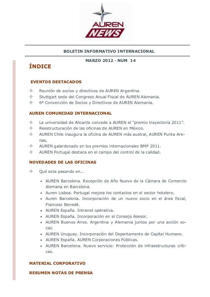 BOLETIN INFORMATIVO INTERNACIONAL                            MARZO 2012 · NUM 14ÍNDICEEVENTOS DESTACADOS   Reunión de soci...