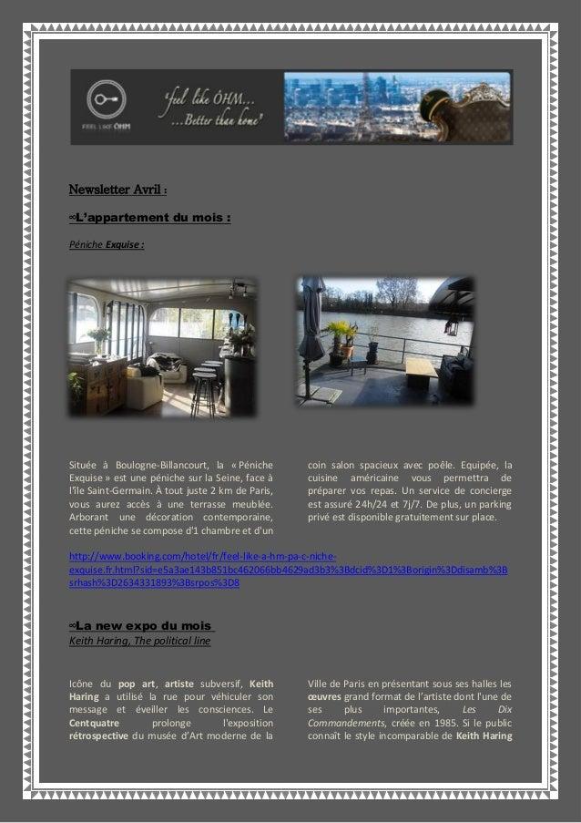 Newsletter Avril :∞L'appartement du mois :Péniche Exquise :Située à Boulogne-Billancourt, la « PénicheExquise » est une pé...