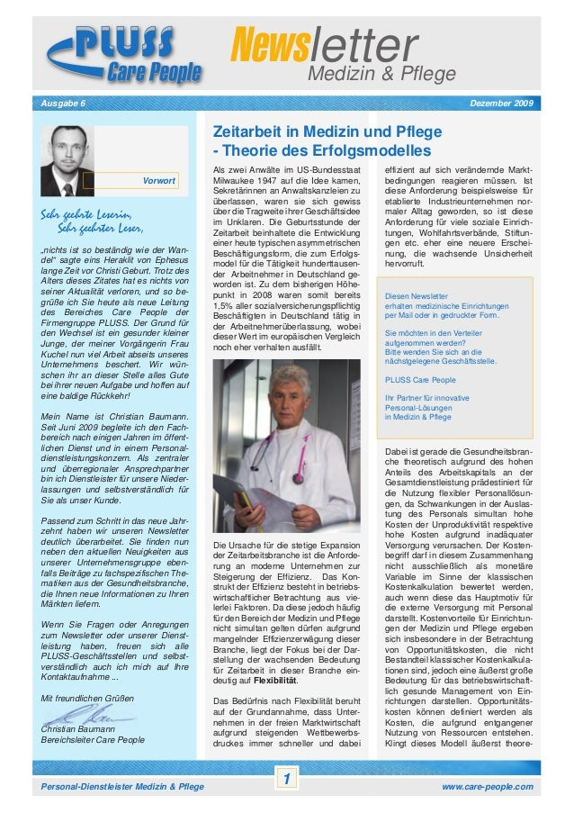 Newsletter Medizin & Pflege  Newsletter Medizin & Pflege Kontakt: PLUSS Personal Leasing und System Service GmbH – Care Pe...