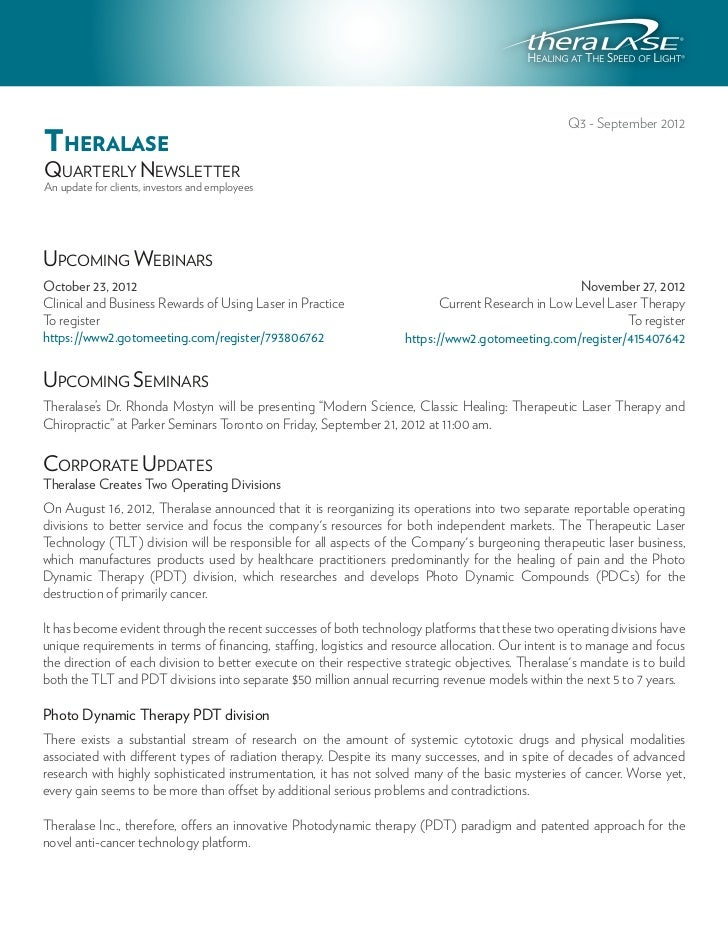 Q3 - September 2012THERALASEQUARTERLY NEWSLETTERAn update for clients, investors and employeesUPCOMING WEBINARSOctober 23,...