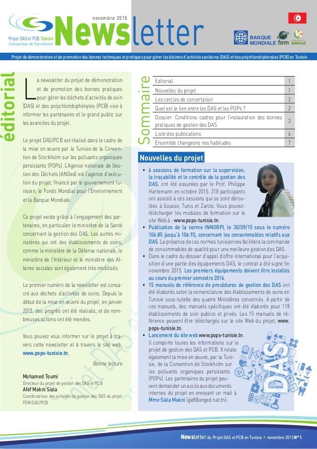 Newsletter BANQUE MONDIALEConvention de Stockholm Projet DAS et PCB Tunisie Projet de démonstration et de promotion des bo...