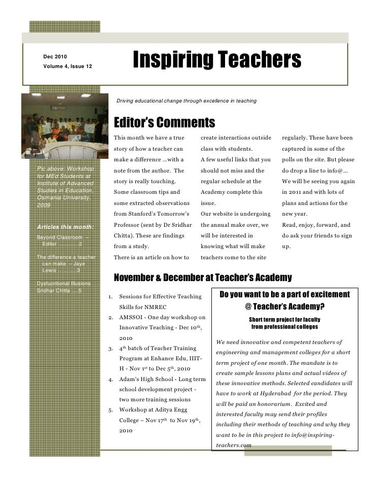 Inspiring Teachers Dec 2010