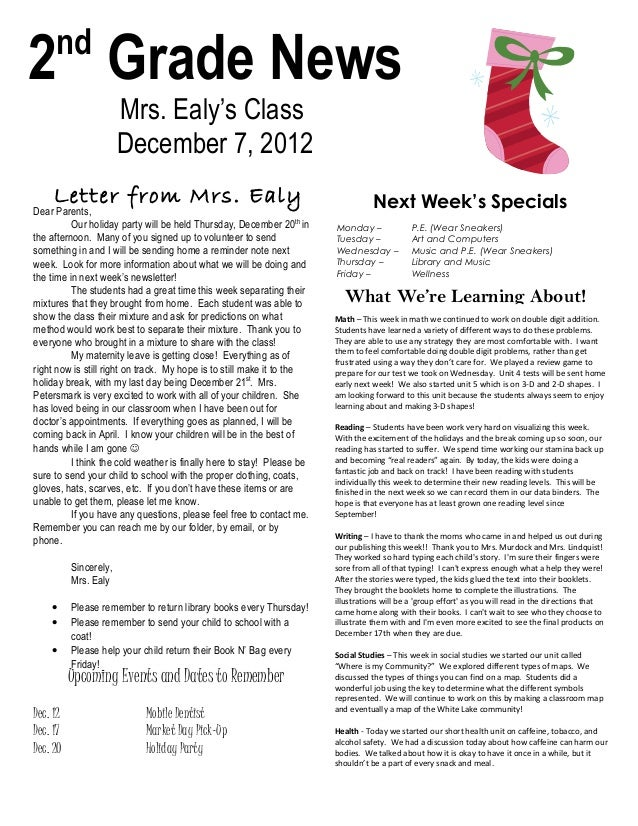 nd2 Grade News                       Mrs. Ealy's Class                       December 7, 2012     Letter from Mrs. Ealy   ...