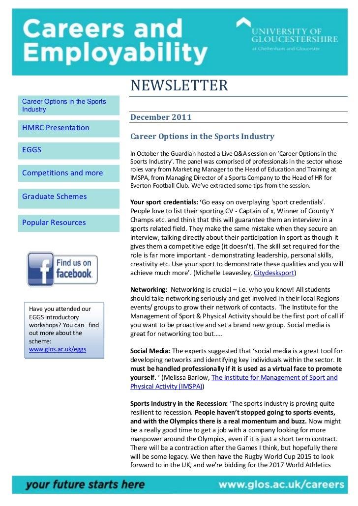 NEWSLETTERCareer Options in the SportsIndustry                               December 2011HMRC Presentation               ...