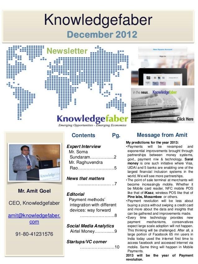 Knowledgefaber                       December 2012              Newsletter                         Contents              P...