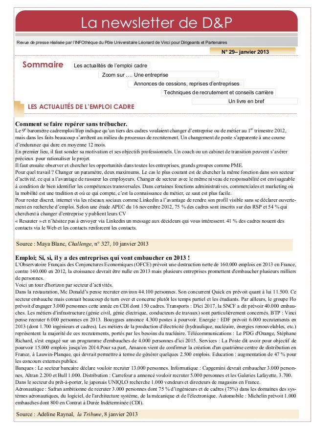 La newsletter de D&PRevue de presse réalisée par l'INFOthèque du Pôle Universitaire Léonard de Vinci pour Dirigeants et Pa...