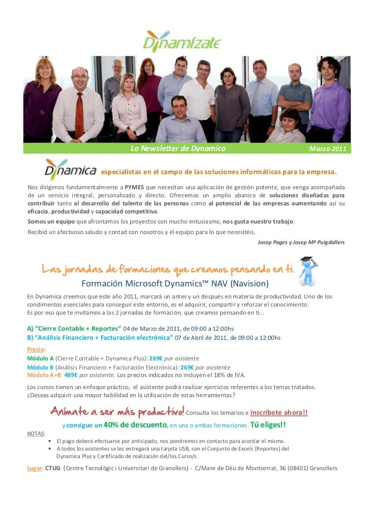 Newsletter Dynamica Marzo 2011
