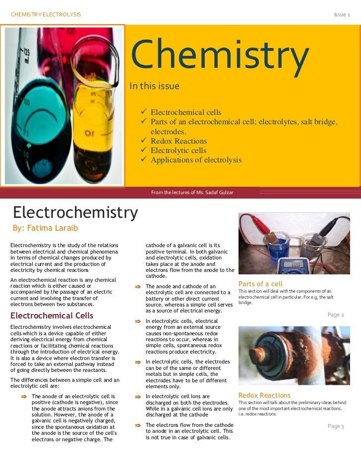 CHEMISTRY ELECTROLYSIS                                                                                                    ...