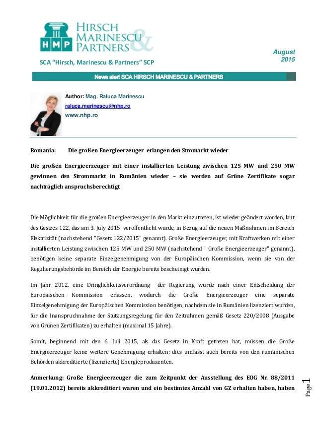 """August 2015SCA """"Hirsch, Marinescu & Partners"""" SCP News alert SCA HIRSCH MARINESCU & PARTNERS Page1 Romania: Die großen Ene..."""