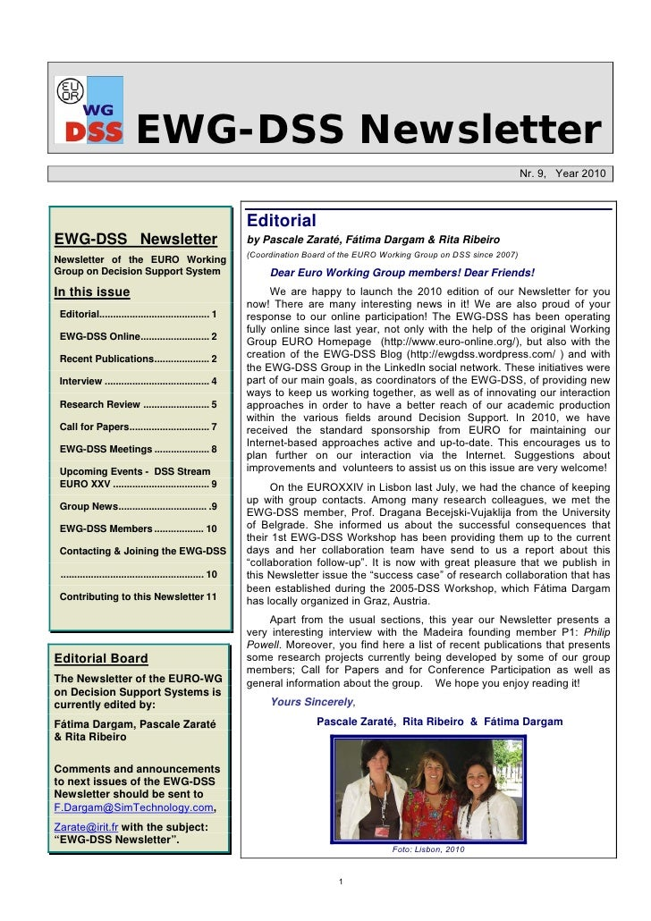 Newsletter EWG-DSS Nr.9 - Year 2010