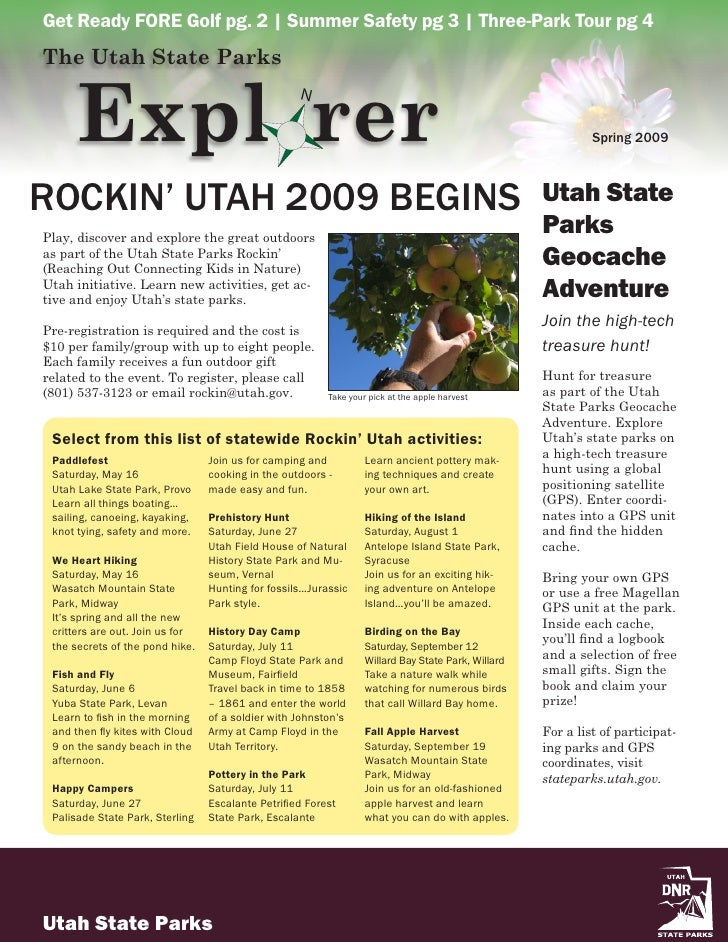 Get Ready FORE Golf pg. 2 | Summer Safety pg 3 | Three-Park Tour pg 4 The Utah State Parks         Expl rer               ...
